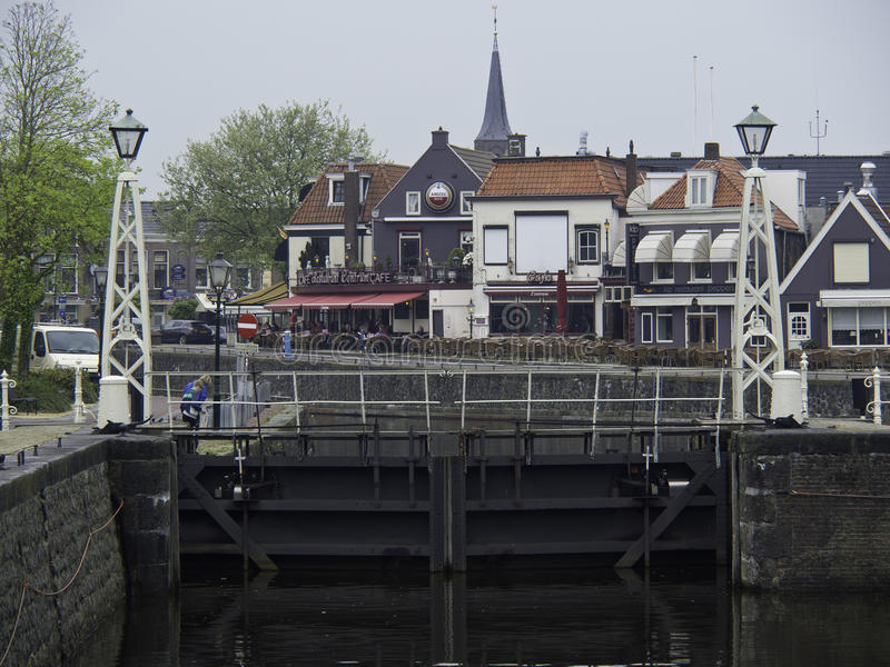 Lemmer. The City of lemmer in the netherlands stock image
