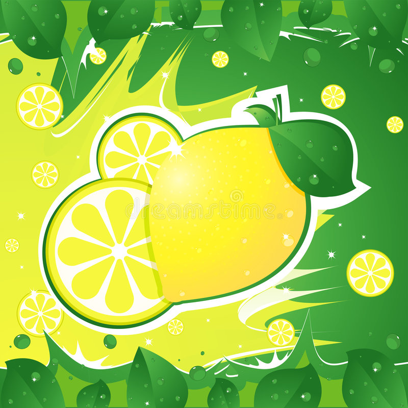 Download Lemon stock vector. Image of background, yellow, leaf - 6737764