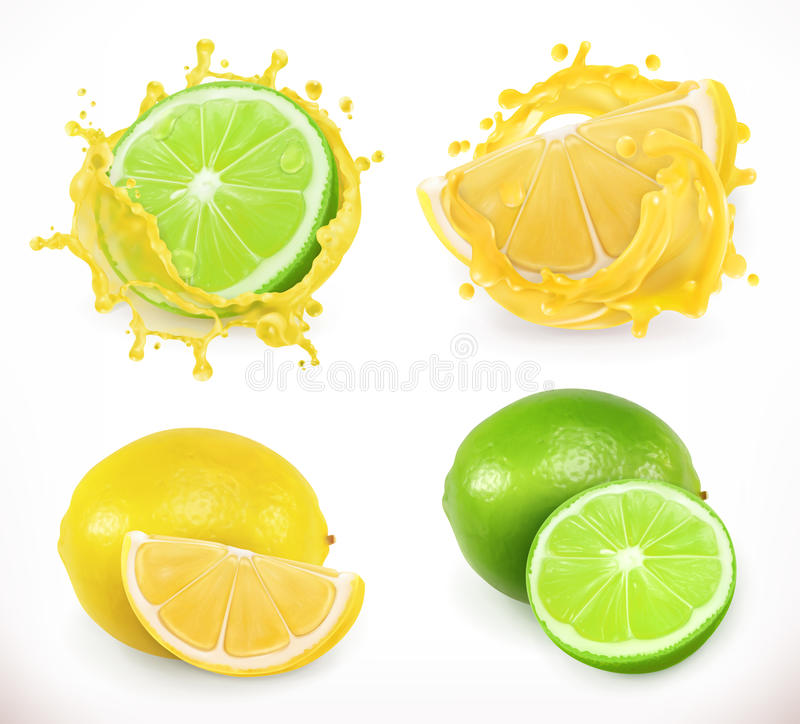 Free Lemon And Lime Juice. Fresh Fruit, Vector Icon Royalty Free Stock Photography - 97761187