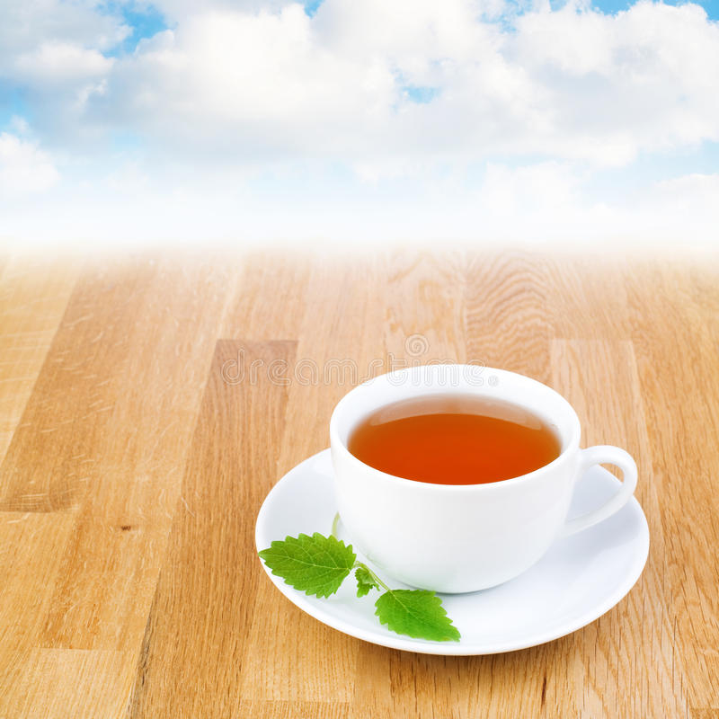 Lemon balm (melissa) tea. Lemon balm (melissa) tea with soothing background stock photography