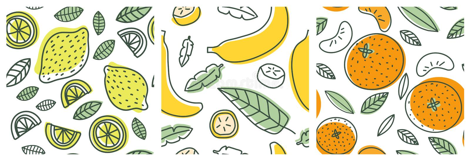 Lemon, banana and orange. Fruit seamless pattern set. Fashion design. Food print for clothes, linens or curtain. Hand drawn vector stock illustration