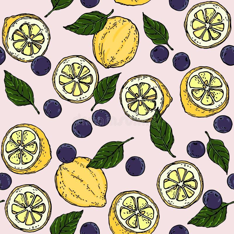 Lemon Blueberry and Basil Leaf Surface Pattern Fruity Background Illustration Vector. stock illustration