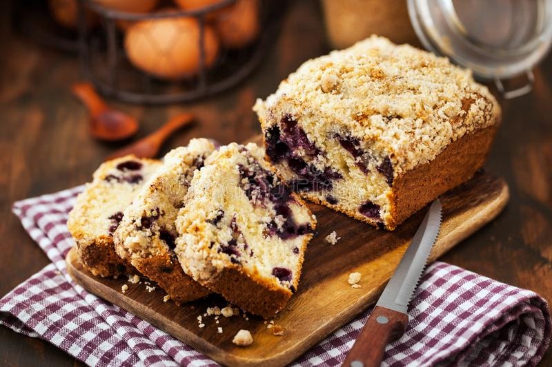 Lemon and blueberry crumble loaf cake stock photos