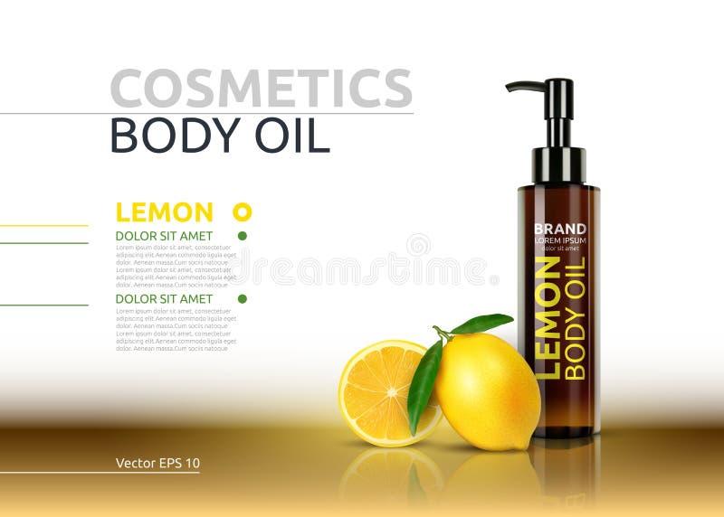 Lemon body oil realistic bottles. Vector Mockup 3D illustration. Cosmetic package ads template. Lemon fruit detailed 3d. Element vector illustration