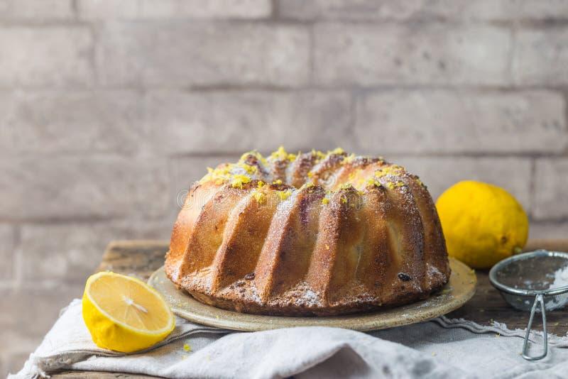Lemon bundt cake royalty free stock photo