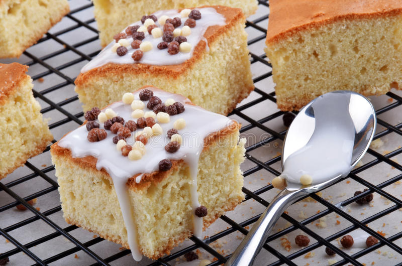 Lemon cake with icing sugar and chocolate balls royalty free stock images