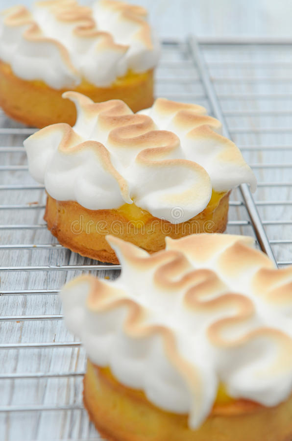Lemon cake with Italian meringue royalty free stock photo