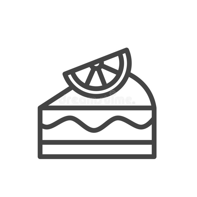 Lemon cake minimal icon isolated. Modern outline on white background vector illustration