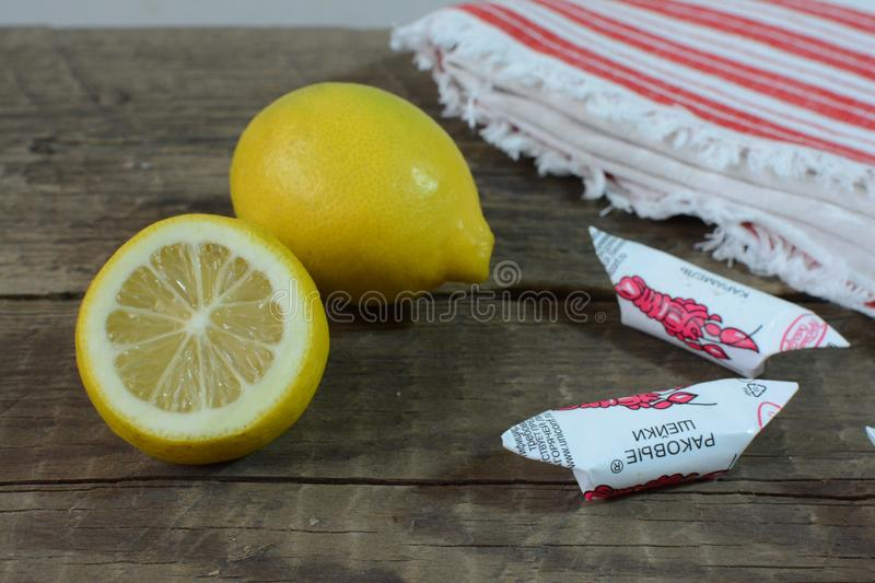 Lemon & candy. Best medicine, warm up stock image