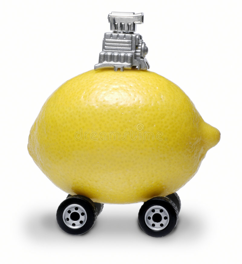 Lemon Car. With wheels and motor stock image