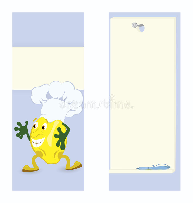 Lemon-cartoon-character-card-template. Lemon cartoon character card template vector illustration royalty free illustration