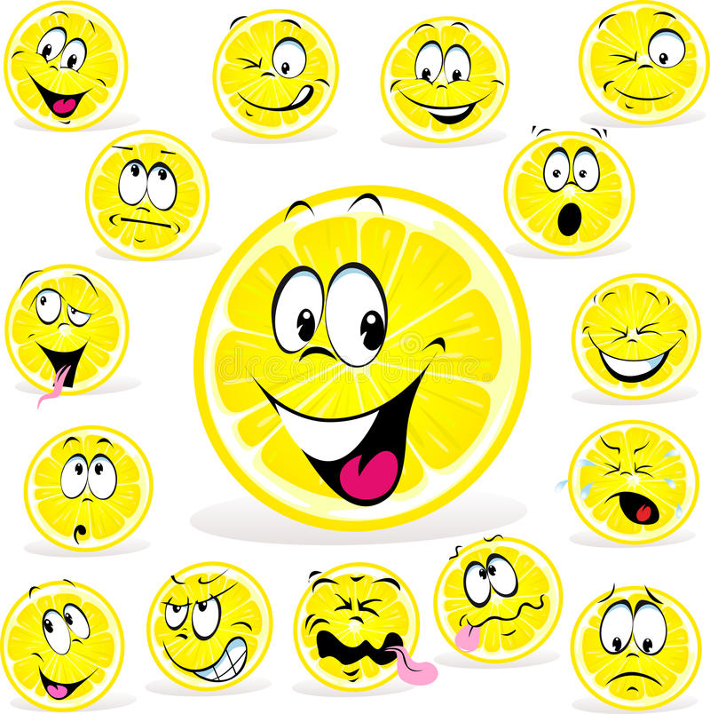 Lemon cartoon with many expressions. On white background royalty free illustration