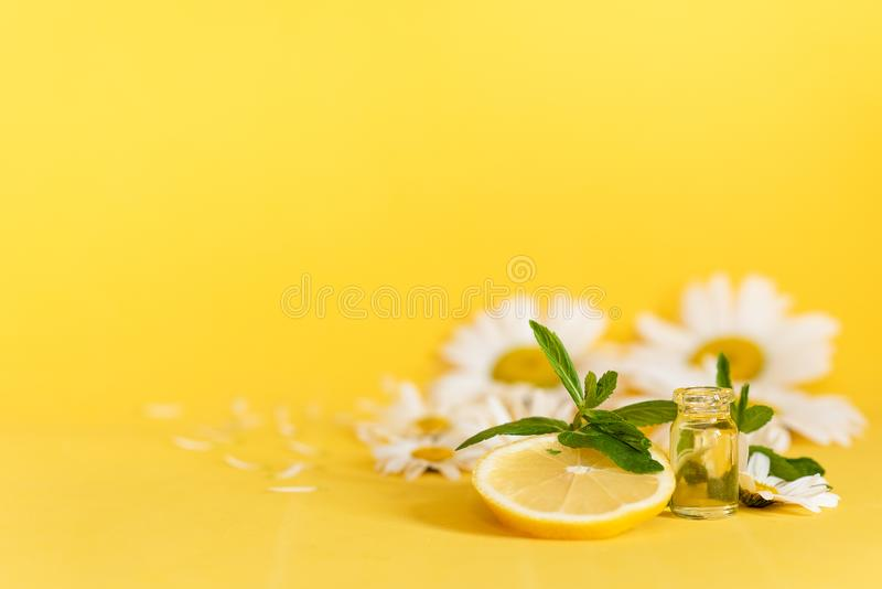 Lemon and chamomile essential oil on wooden yellow background stock photo