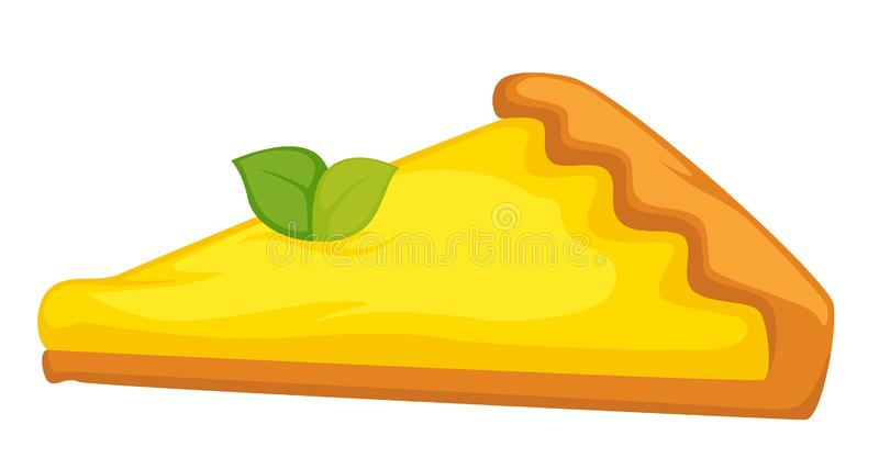 Lemon cheesecake isolated cake citrus flavor bakery food. Bakery food lemon cheesecake isolated cake citrus flavor vector cream and mint leaves cooking culinary royalty free illustration