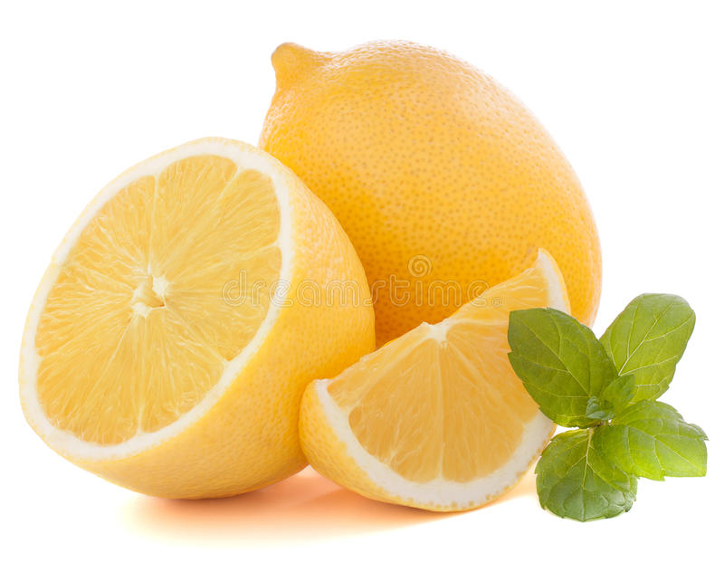 Lemon or citron citrus fruit. Isolated on white background cutout royalty free stock photography