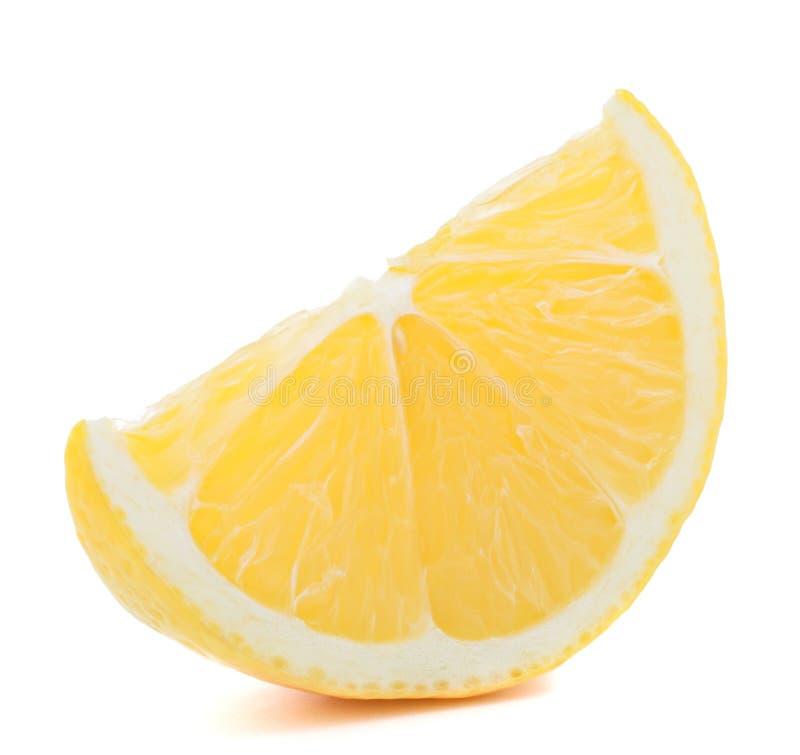 Lemon or citron citrus fruit slice. On white background cutout stock image