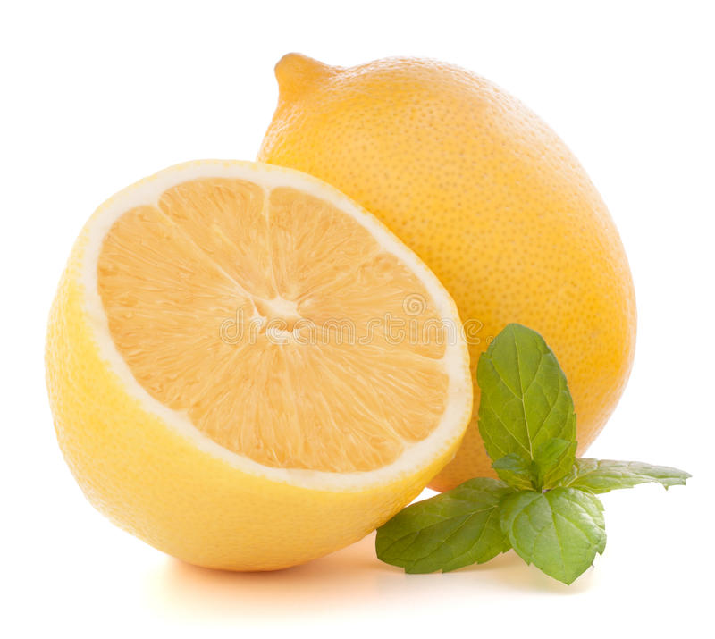 Lemon or citron citrus fruit. On white background cutout royalty free stock photo