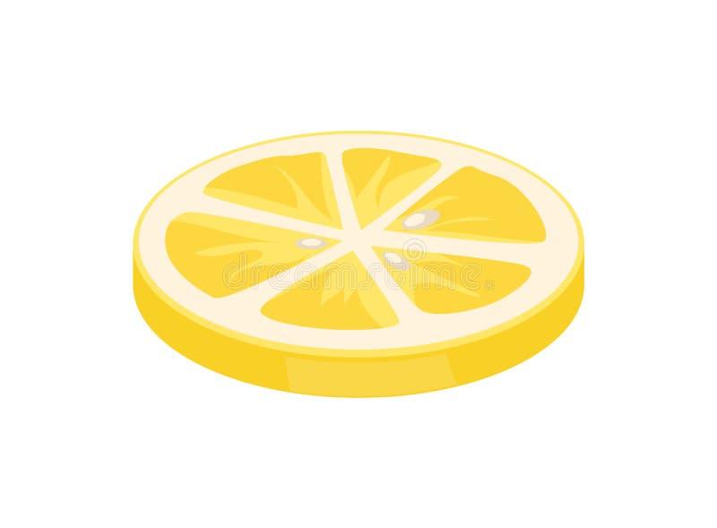 Lemon Citron Citrus Closeup Vector Illustration. Lemon citron slice citrus piece segments of juicy sour fruit icon closeup. Sliced plant used as seasoning for vector illustration