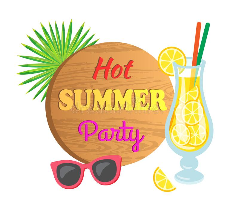Lemon Cocktail and Sunglasses, Summer Party Vector stock illustration