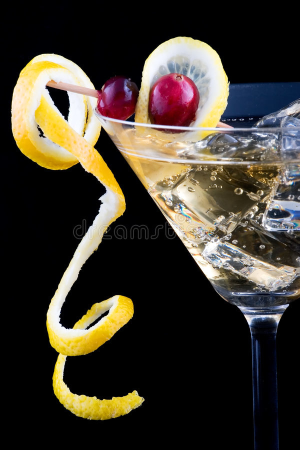 Lemon and cranberry splash cocktail stock image