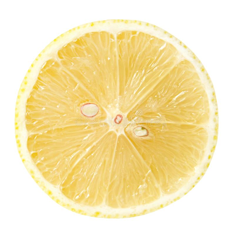 Lemon in cross section on a white isolated background. Good texture and shape. Clipping path royalty free stock images