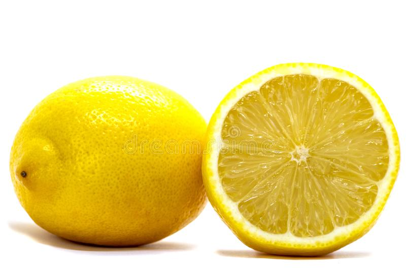 Lemon, cytrus limon. Yellow fruit, juicy and with an acid flavour.  royalty free stock images