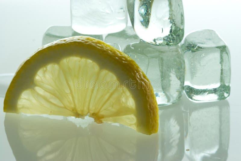 lemon część podobszaru ices kostki fotografia stock