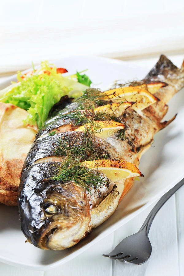 Lemon dill trout with baked potato royalty free stock images