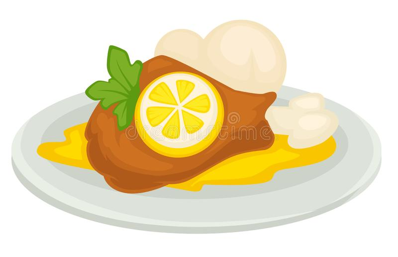 Lemon dish duck or chicken in sour sauce with mushrooms vector illustration