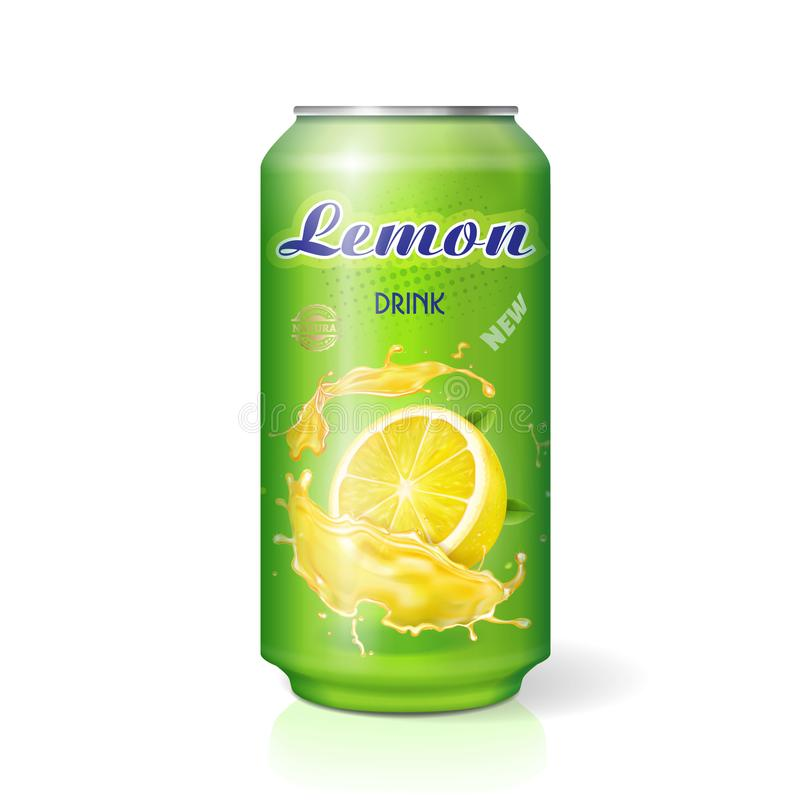 Lemon drink contained in metallic can realistic vector illustration