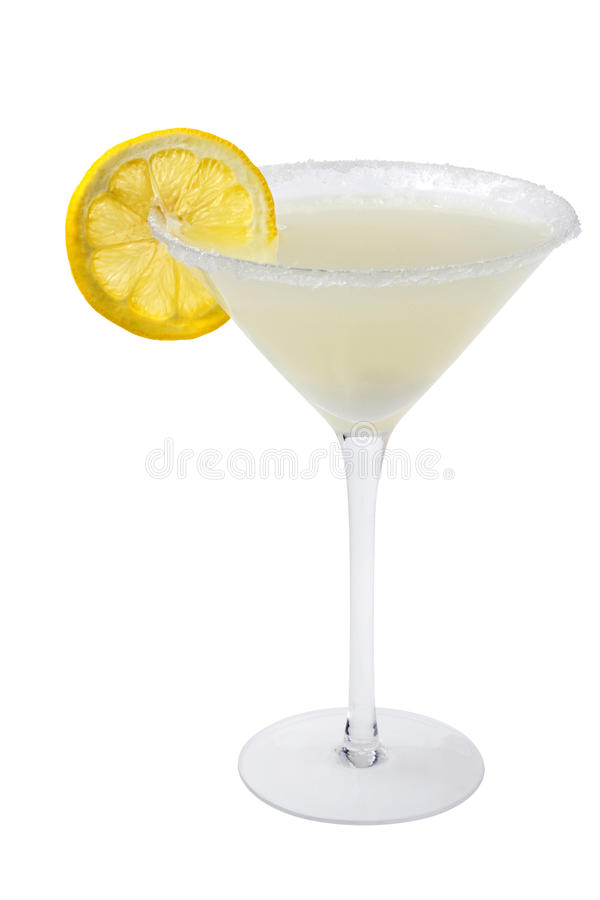 Lemon Drop Cocktail On A White Background Royalty Free Stock Images