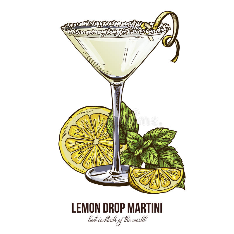 Free Lemon Drop Martini With Mint Leaves Stock Photo - 90937860