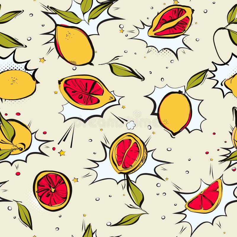 Lemon färsk posterkarta, modern juicy citrus, konst av koma, kartongmatning stock illustrationer