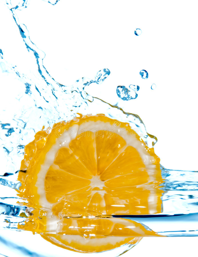 Download Lemon Fall In Water With Splash Stock Photo - Image: 8187712