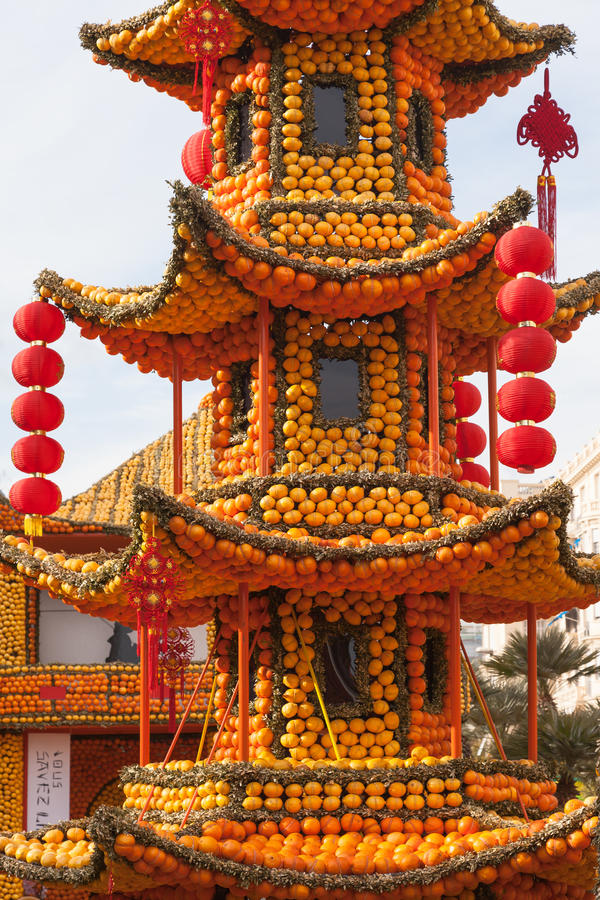 Lemon Festival (Fete du Citron) on the French Riviera. Thousands of lemons and oranges are used to build huge citrus constructions royalty free stock image