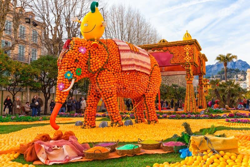 Lemon Festival (Fete du Citron), Menton, France. MENTON, FRANCE - FEBRUARY 27, 2013: Art made of lemons and oranges in the famous Lemon Festival (Fete du Citron royalty free stock image