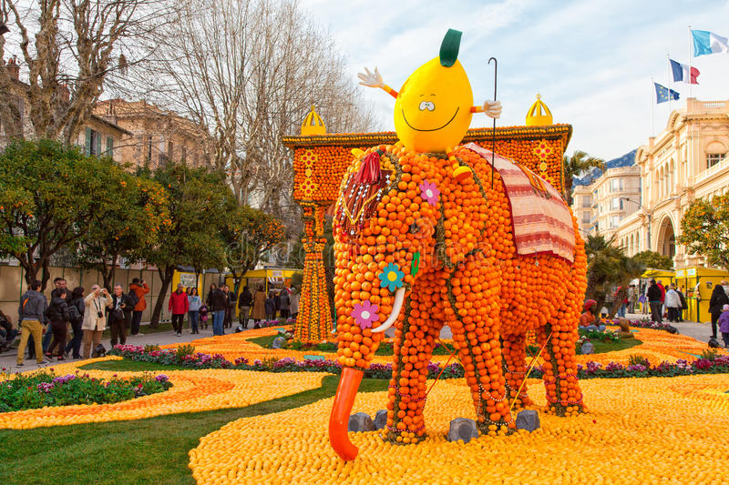 Lemon Festival (Fete du Citron) in Menton, France. MENTON, FRANCE - FEBRUARY 27, 2013: Lemon Festival (Fete du Citron) on the French Riviera. The theme for 2013 royalty free stock photo
