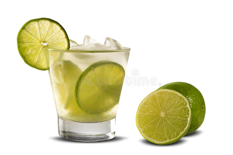 Lemon Fruit Caipirinha Of Brazil On White Background Stock