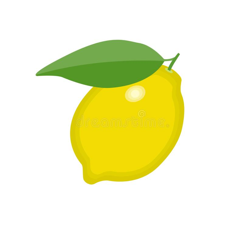 Lemon fruit with green leave icon on isolated background concept for farmers market organic food in flat style vector illustration. Lemon fruit with green leave vector illustration