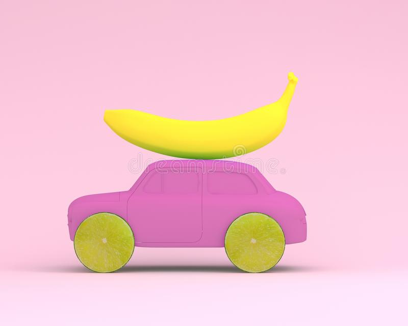 Lemon fruit layout wheel and banana, car pink on pastel pink background. minimal idea food and fruit concept. Idea creative to pr stock photos