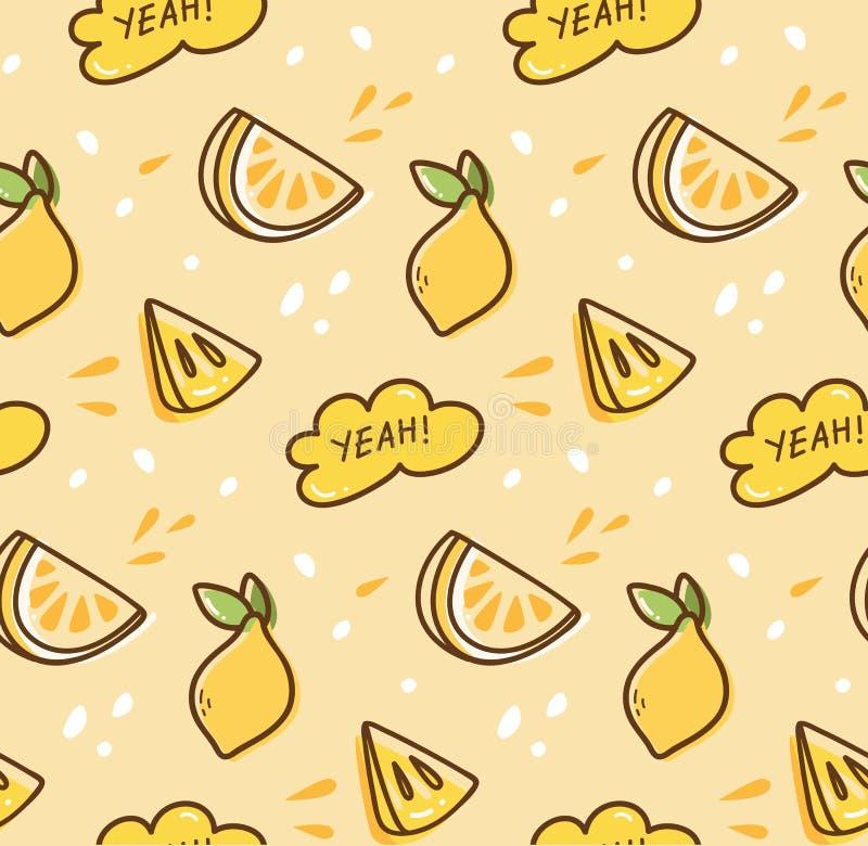 Lemon fruit seamless pattern in kawaii style vector stock illustration