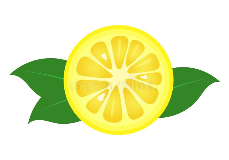 Lemon fruit slice closeup icon, round piece of lemon. Logo design, flat vector illustration. Lemon fruit slice closeup icon, round piece of lemon. Logo design vector illustration