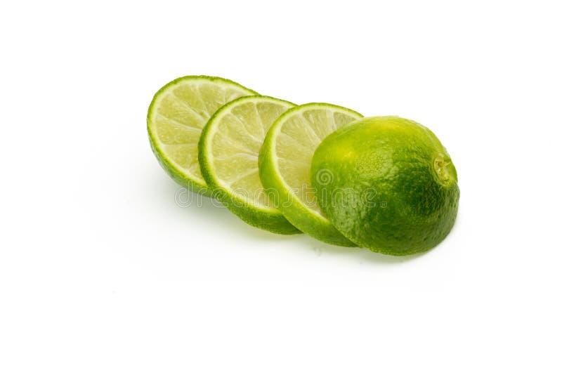 Lemon Fruit slices isolated on white background. Close up stock photo
