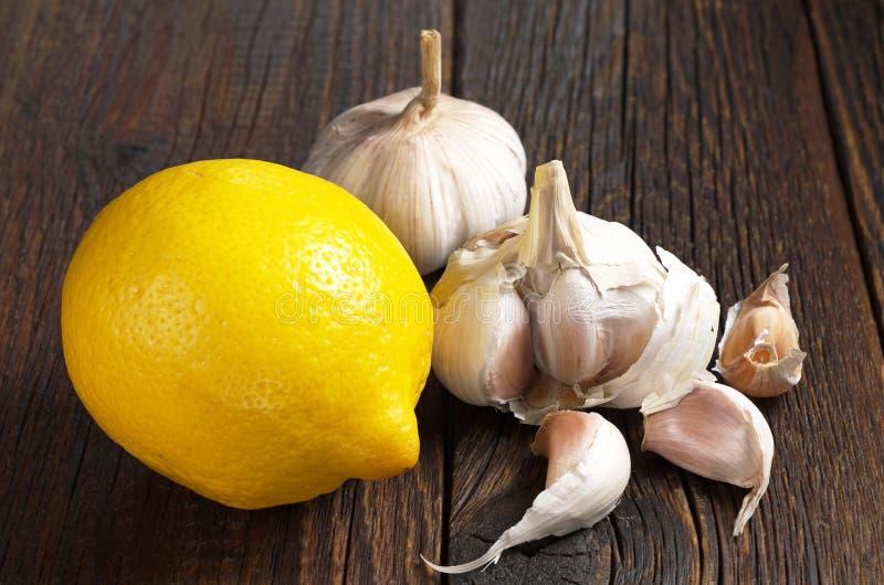 Lemon and garlic royalty free stock image