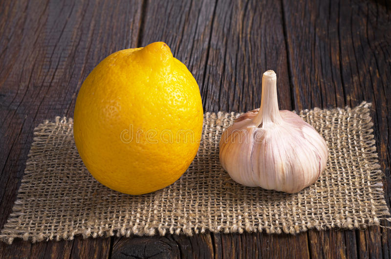 Lemon and garlic stock image