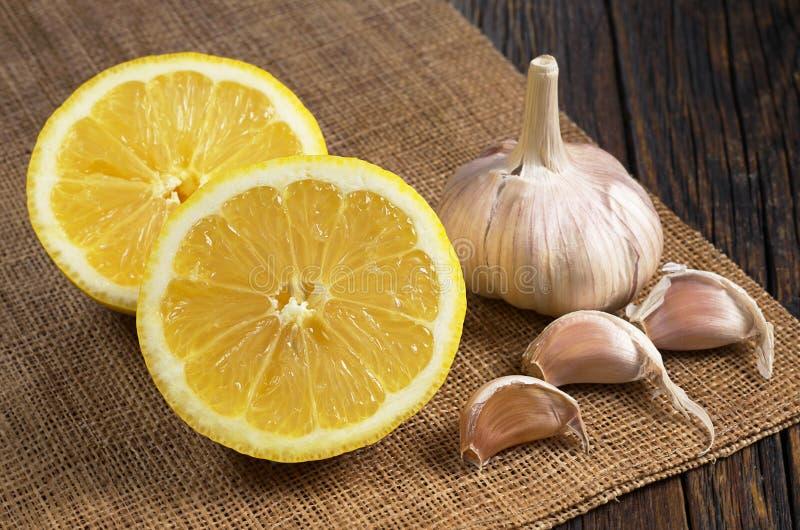 Lemon and garlic royalty free stock photo