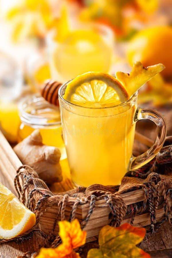 Lemon and ginger tea with honey. Spicy medicinal tea for autumn-winter season stock photos