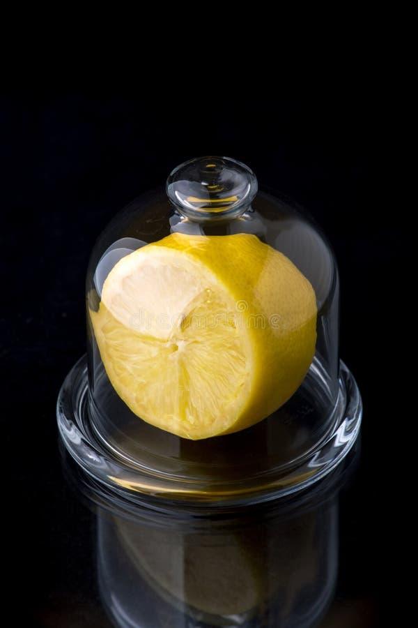 Lemon in a glass vase stock image