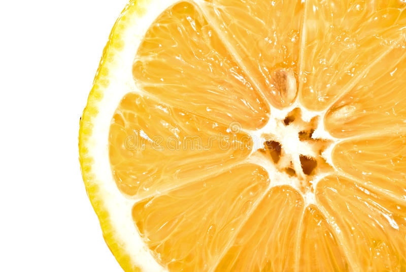 Lemon half cross section. On white royalty free stock photos