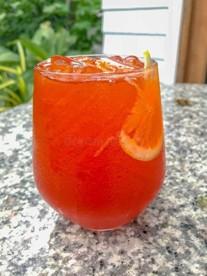 A lemon ice tea glass stock photo